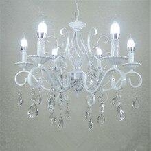 Винтажная кованая хрустальная люстра E14 Свеча Освещение приспособление ретро белый металлический Хрустальный потолочный светильник MING