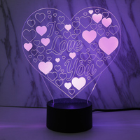 Oobest Hearts Love 3D Lovers Night Light 7 Color Change LED Lampe De Table Christmas Gift