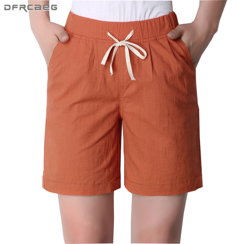 New Arrivals Women Summer Shorts 2018 Casual Loose Plus Size Cotton Linen Short Trousers Female High Waist Shorts 4xl  3xl