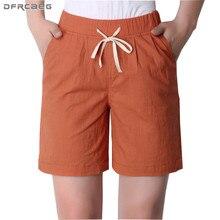 Pantalones cortos de algodón y lino para mujer, pantalón corto informal, holgado, de talla grande, cintura alta, 4xl, 3xl, novedad de verano 2018