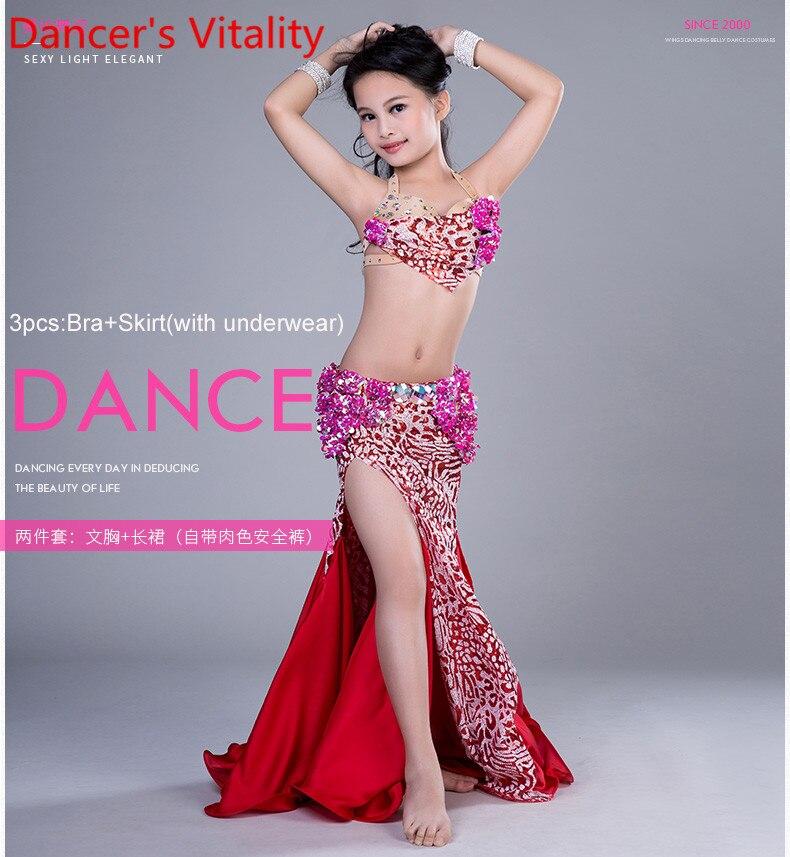 2018 Children Belly Dance Costumes Child Ballroom Dance Performance clothes Hand Made Bra+Skirt Girls Dance Suit S M L rumbelow s dance