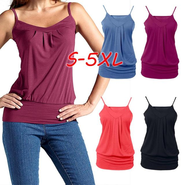 S-5XL Women Vest 2019 Summer New Femme Sexy Top Solid Color V-neck Casual Loose Shoulder Strap Feminino Vest