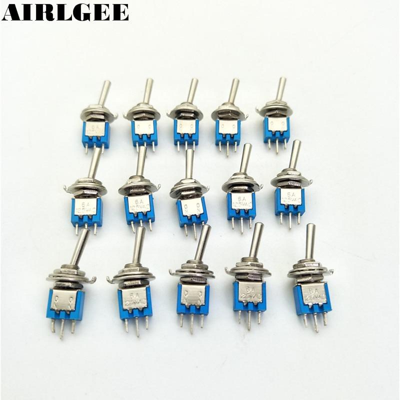 15 pcs AC125V/6A 250 v/3A SUR/SUR 2 Position 5mm Fil Montage Trous SPDT mini Interrupteur À Bascule SMTS-102