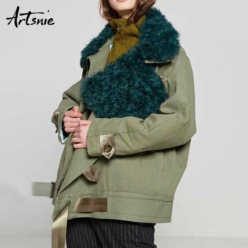 Artsnie Winter Casual Thick Warm Parkas Women Faux Fur Collar Pockets Autumn 2018 Cotton Jackets Female Chaqueta Mujer Outerwear