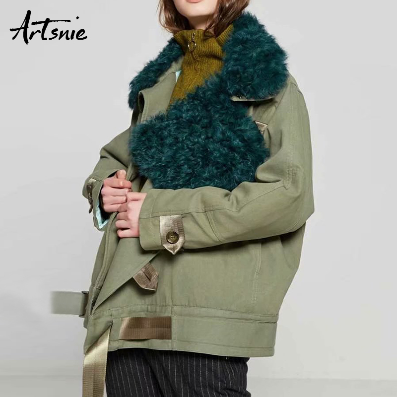 Artsnie Winter Casual Thick Warm   Parkas   Women Faux Fur Collar Pockets Autumn 2018 Cotton Jackets Female Chaqueta Mujer Outerwear