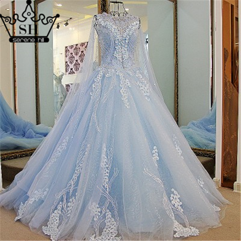 100 Real Picture Long Train Wedding Dress Blue Color
