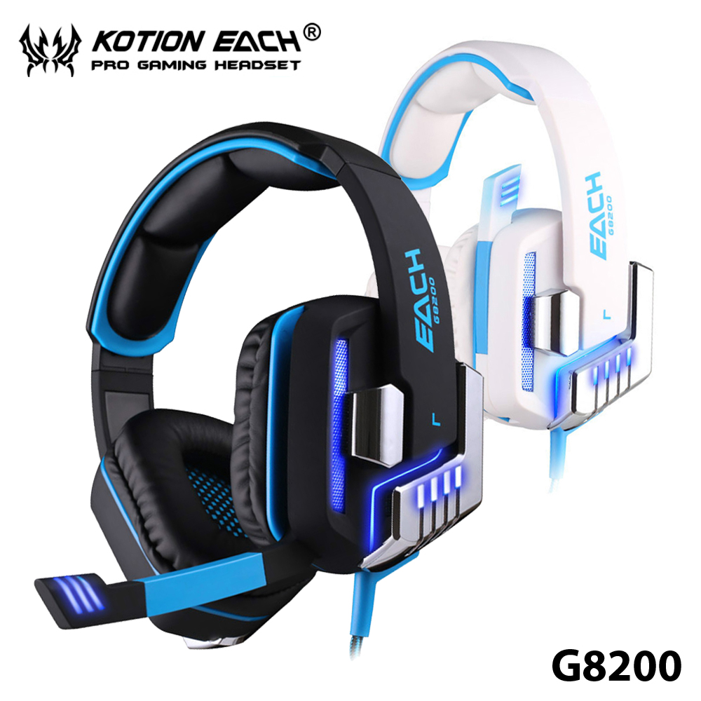 ФОТО +Hot Sale+ Gaming Headphone Each G8200 LED Earphone Retractable Mic Microphone Heavy Bass Vivid Sound Games Atmosphere Active