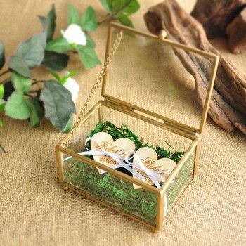 개인화 된 유리 반지 상자 구리 결혼 반지 무기명 상자 스테인드 글라스 반지 베개 육각형 상자 기하학적 보석 상자
