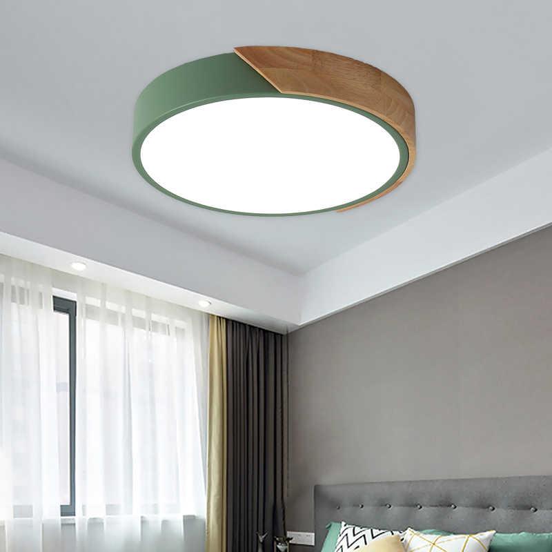Logam Kayu 5 Cm Ultra Tipis Modern Lampu Langit-langit LED Lampu Luminaria Lampu Langit-langit dengan 3 Warna Perlengkapan Kilau plafonnier