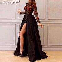 Ангел NOVIAS одежда с длинным рукавом черный атлас Саудовская Арабский Дамы Вечерние платья 2018 с разрезом Avondjurken 2018 индивидуальный заказ