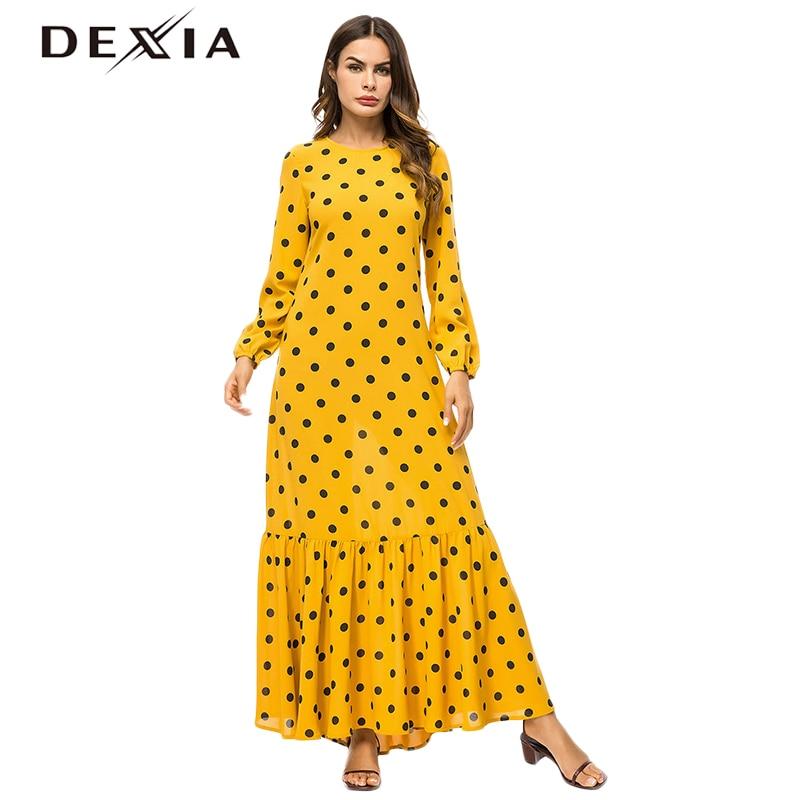 Dexia Bohemian Muslim Yellow Long Robe Plus Size 4XL Dress Women Bohemian Full Sleeve Spring Party Maxi Dot A Line Dress 7363