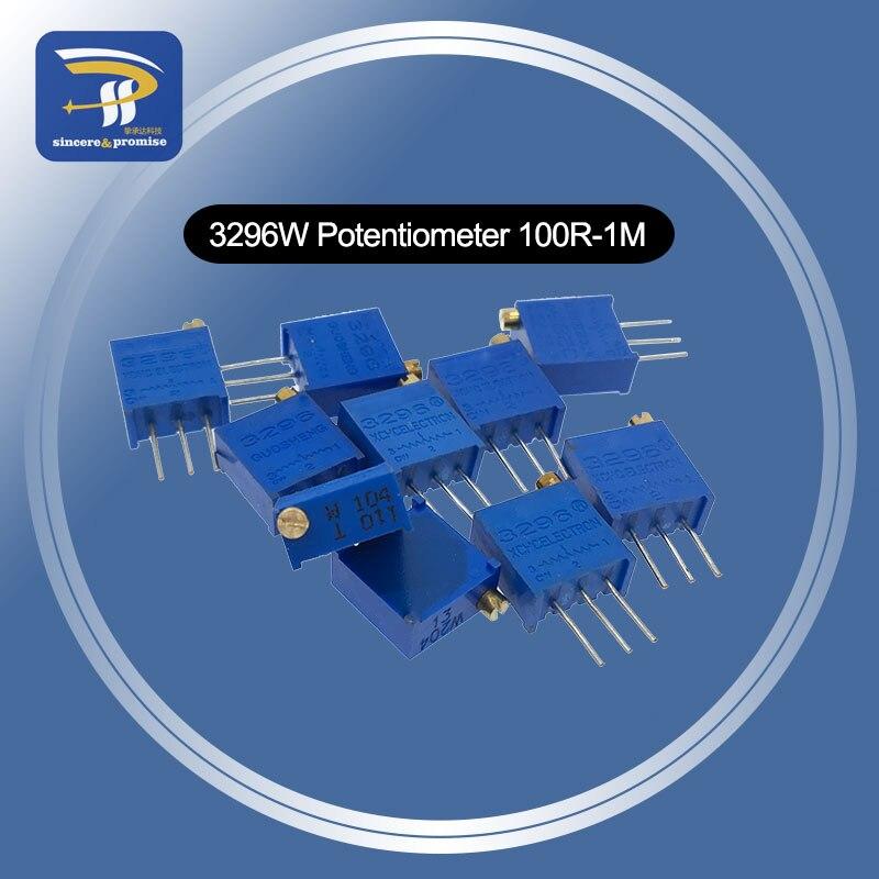 Kit de potenciômetro 3296 alta precisão, 3296w, resistor variável 100r-1m 200r 500r 1k 2, 10 peças k 5k 10k 20k 50k 100k 200k 500k