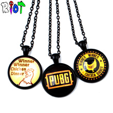 3Types STG Game Playerunknown's Battlegrounds Eat Chicken Necklace Glass Cabochon Pendant PUBG