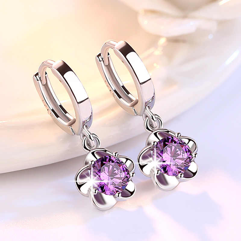 Wholesale Rose Flower Cubic Zirconia 925 Sterling Silver Female Stud Earrings Original Jewelry For Women Drop Shipping Gift