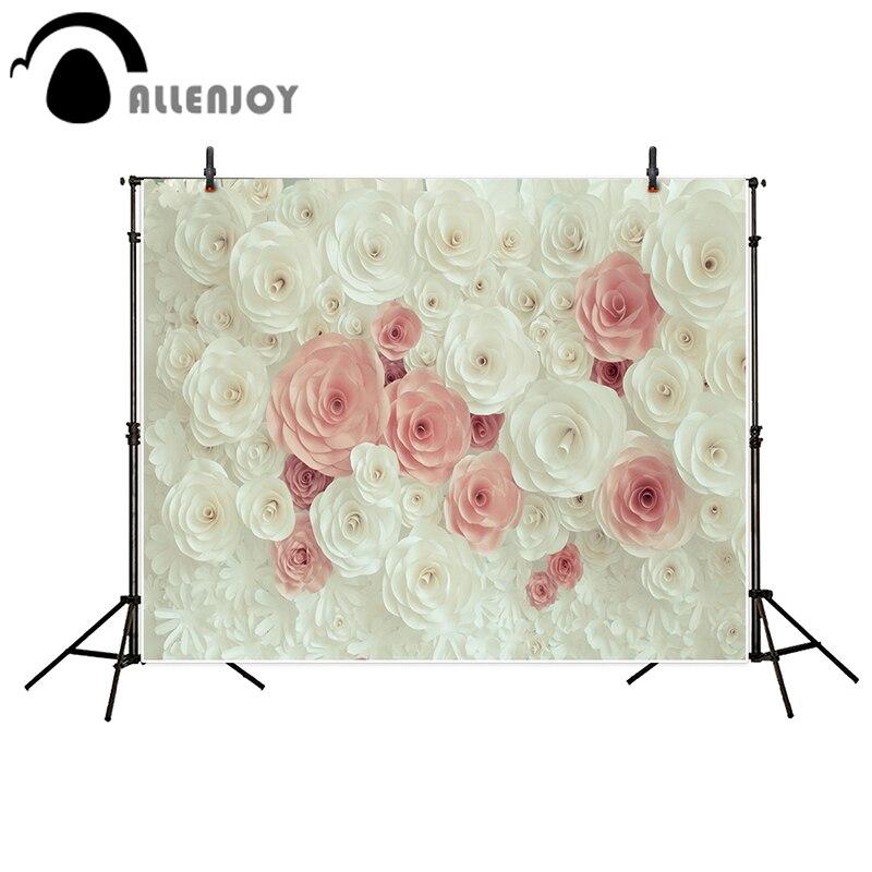 Allenjoy photography backdrops White pink beautiful flowers wedding background kids background photo backdrops for photography