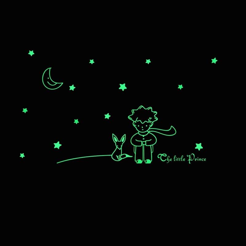 fbbb51c60 Popular Conto de Fadas Livro O Pequeno Príncipe Fox com Estrela Da Lua  Decoração Da Casa Brilham no Escuro Adesivos de Parede para decoração para  Quartos de ...