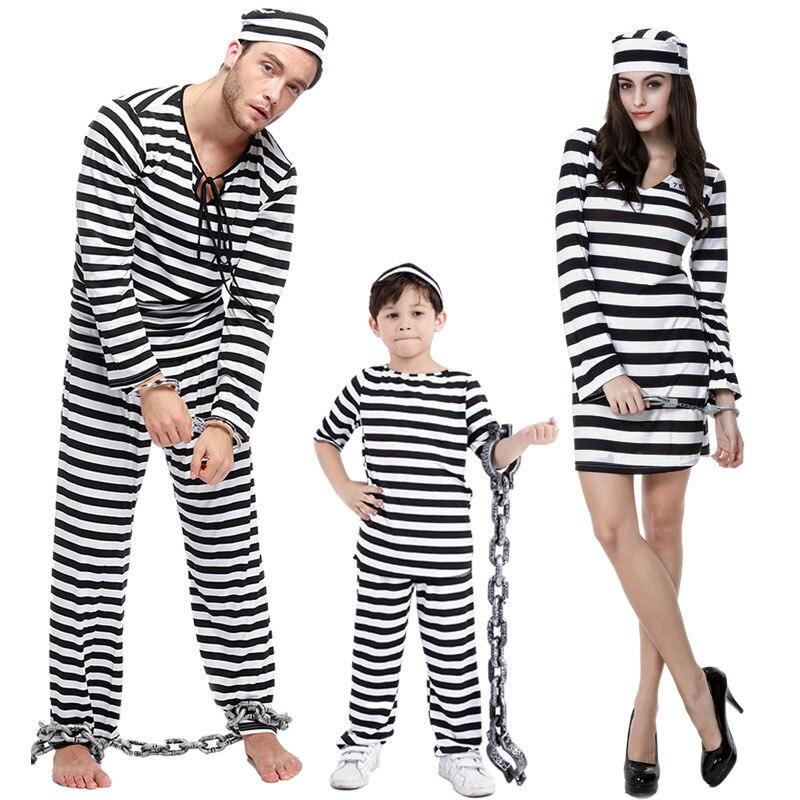Umorden Women Men Kids Scary Zombie Prisoner Jailbird Costume Black White Striped Halloween Purim Costumes Fancy Dress