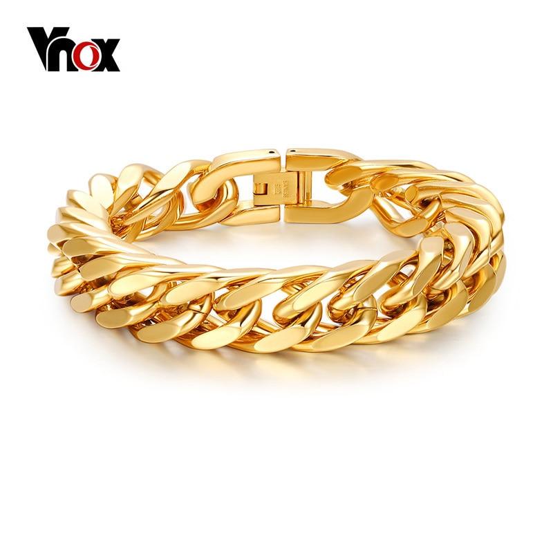 Vnox hombres cadena pulsera de enlace 15mm ancho Acero inoxidable muñeca mano pulsera del Color del oro regalo de la joyería masculina Pulseira