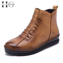 Genuine Leather Platform Women Boots Autumn Winter Ankle Boots Creepers Casual Shoes Woman Slip On Women Flats Shoes XWX4355