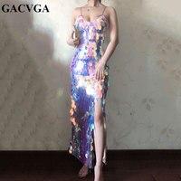 GACVGA 2019 Boho Strap Backless Summer Dress Sequined Maix Long Dress Elegant Beach Side Split Women Sexy Party Dress Vestido
