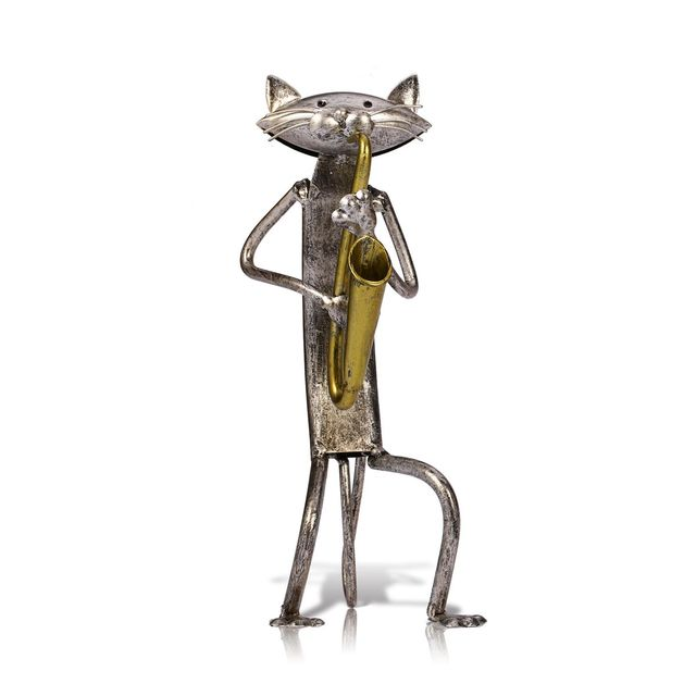 Tooarts Metal Figurine pop A Playing Guitar Saxophone Singing Cat Figurine Furnishing Articles Craft Gift For Home Decoration 3