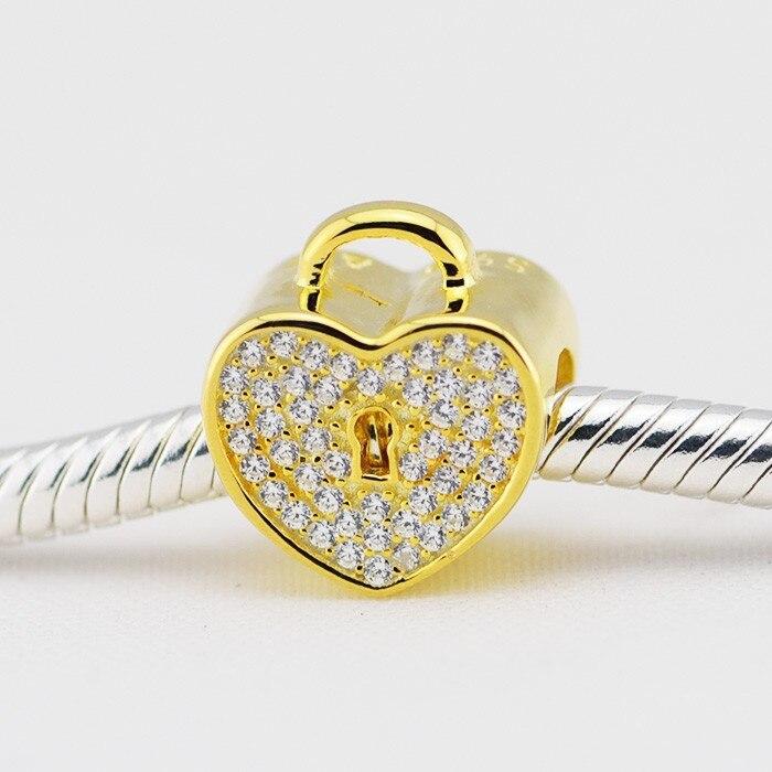 Convient Pandora Charms Bracelet DIY Perles Serrure de Coeur D'amour avec Cubique Zironia et Réel Bijoux De Mode Livraison Gratuite