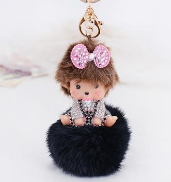 font b 2017 b font Monchhichi Fur pompom Ball Monchichi Bow metal Keychain Key Chain