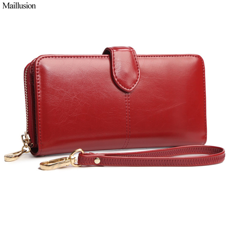Maillusion Women Wallets Oil Wax Leather Fashion Hasp Long Coin Purse Money Pocket Holders Of Wristlet Female Wallet Clutch Bag 2017 purse wallet big capacity female famous brand card holders cellphone pocket gifts for women money bag clutch passport bags