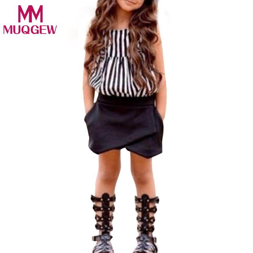 MUQGEW NEW Hot-selling 2pcs Baby Kids Girls Summer Clothes Sleeveless Striped Tops Blouse+Asymmetric Shorts Outfits Clothing Set newborn baby girls clothes set off shoulder girl costume blue sleeveless denim tops ruffle shorts outfits summer clothing 2pcs