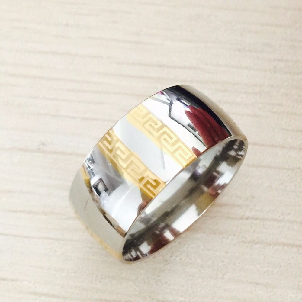 Large Luxury Exaggerated 8mm Greek Key Gold Silver Rings Men Women 316l  Titanium Stainless Steel Men