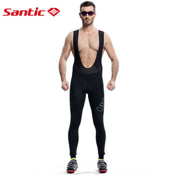 Santic Men Cycling Bib Pants Long Cycling Padded Pants Nine Tenth Bicycle Pad Breathable Bib Pants for Spring Autumn 5061H