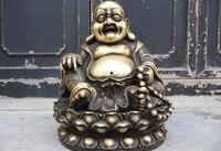Ev ve Bahçe'ten Statü ve Heykelleri'de 150401 S0443 17 Çin Kraliyet Saf Bronz Mutlu kahkaha Para Maitreya Buda Heykeli