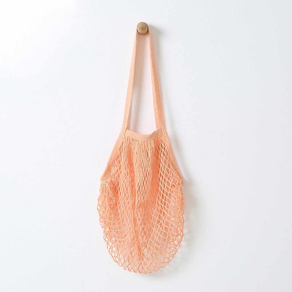 Chaîne à provisions de fruits réutilisable épicerie Shopper coton fourre-tout maille tissé Net sac à bandoulière maille Net sac à provisions de haute qualité