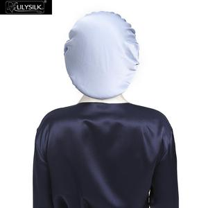 Image 4 - LilySilk Silk Night Sleep Cap Silk Cap for Sleeping Women Flounced Brand Solid 19 Momme Elegant Hair Care Accessories