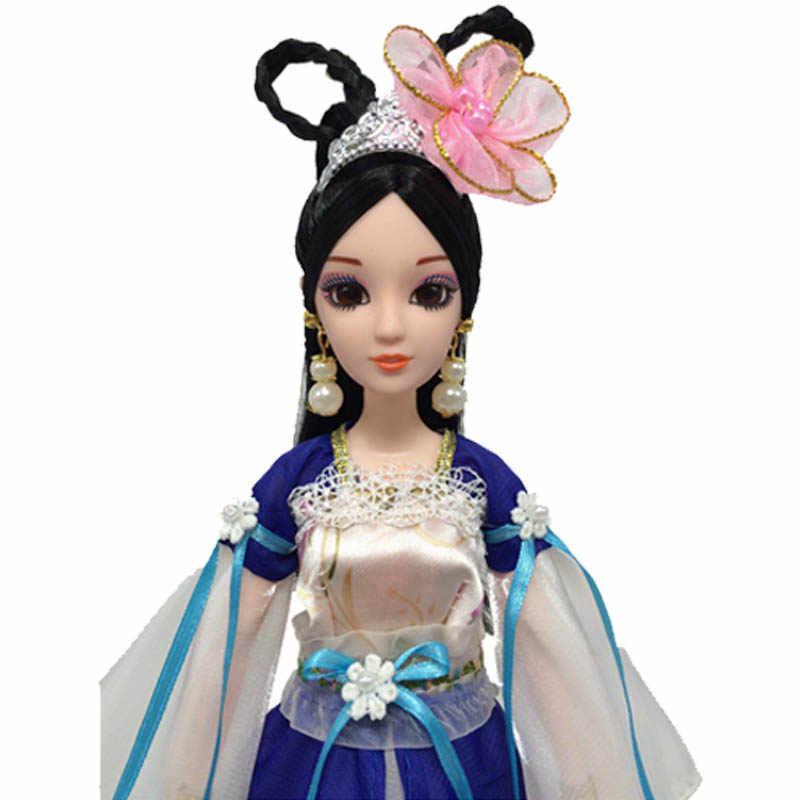 Аксессуары для кукол, традиционная Китайская древняя Спящая красавица Костюм, Одежда для куклы Барби, вечерние платья, вечерние платья, синие