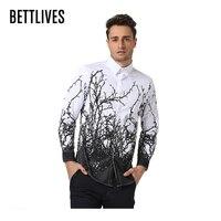 Luxury Fashion Men Dress Shirt Casual Long Sleeve Shirt Men Slim Fit Tree Branches Flower Printed