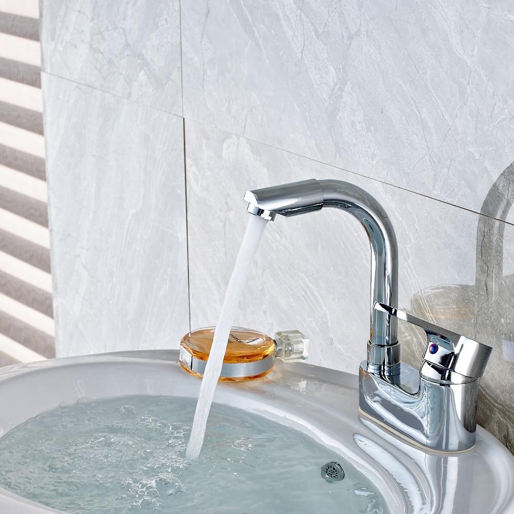 """Deck Mount Chrome Bathroom Basin Faucet 4"""" Vanity Sink Mixer Tap Spout Faucet"""