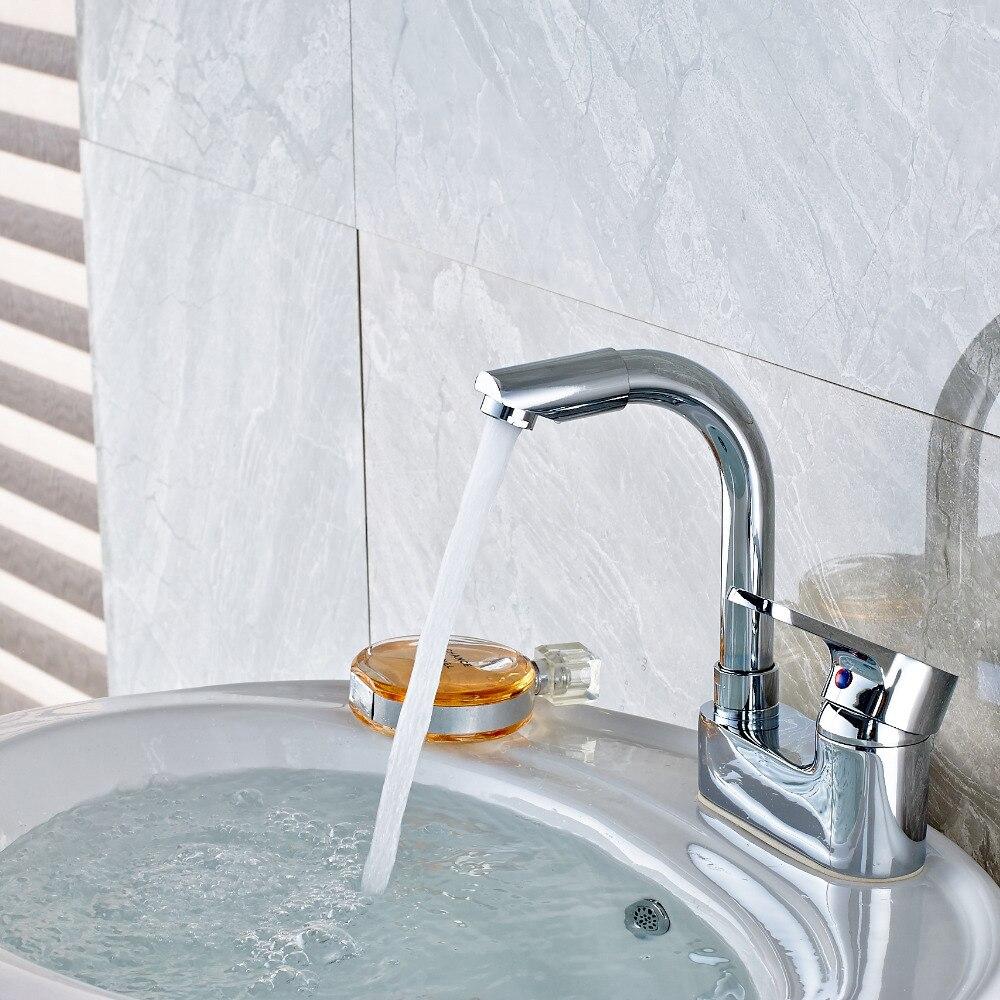 Deck Mount Chrome Bathroom Basin Faucet 4 Vanity Sink Mixer Tap Spout Faucet