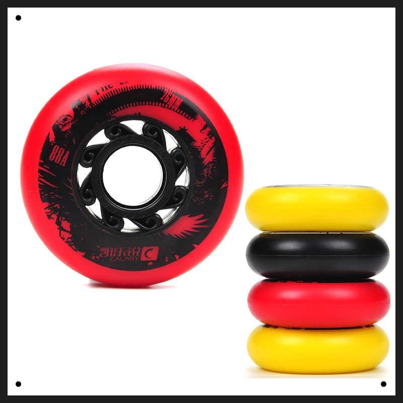 4 قطعه 88A کیفیت PU اسکیت غلتکی بصورت درون خطی چرخهای 72/76/80 میلیمتر کشش بالا FreeStyle Roller Blade rodas FSK کشویی Ruedas
