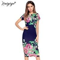 Ruiyige 2018 Summer Vintage Floral Print Dress Women Boho Casual Elegant Party Midi Dresses Sexy Beach