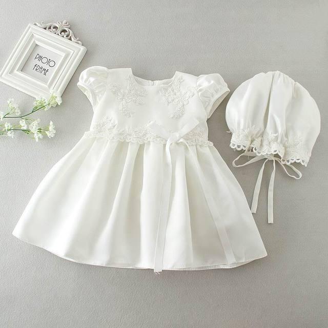 0593f99090 Detal Newborn Baby dziewczyny Brithday sukienka chrzest chrzciny suknia  sukienka biała księżniczka haft sukienki czapki dla