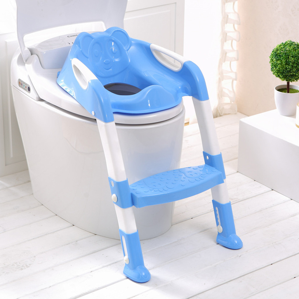 High quality PP Baby Child Potty Toilet Trainer Training Seat Step Stool Ladder Folded Adjustable Training Chair Safety Comfort
