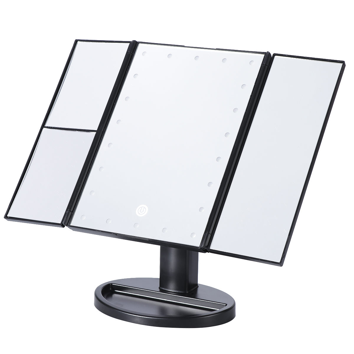 LED Vanity Makeup Mirror Trifold 21LEDs Lighted with Touch Screen 180Adjustable Stand Magnification USB Countertop Cosmetic 22 led touch screen makeup mirror 10x magnifier bright lighted cosmetic makeup mirror portable vanity countertop 180 rotating