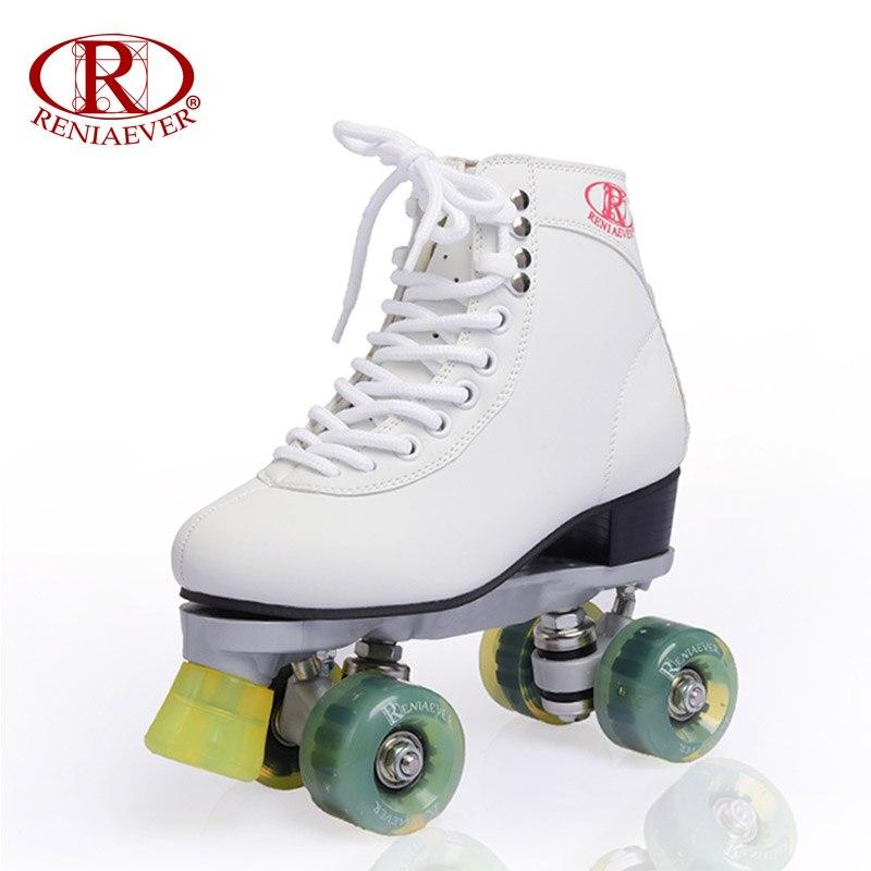 Prix pour Reniaever patins à roulettes double ligne patins blanc femmes dame femelle adulte Avec Vert LED 4 Roues Deux Ligne De Patinage Chaussures Patines