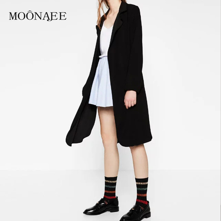 2017 European and American Style New Spring Hanging Textile Black Windbreakers Women's Casual Trench Coats FY04