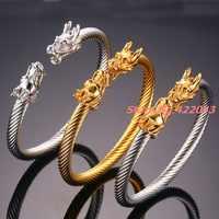 Nueva pulsera de acero inoxidable 316L para hombres y mujeres de moda punk silver gold dragons 6mm con cierre de cable y alambre abierto