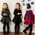 (100cm-140cm) 2016 New Style Winter Little Girl Dress Mirco Velvet Big Bowknot Princess Dress