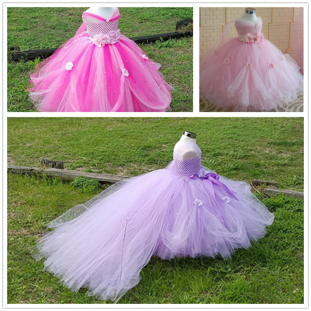2017 Top Quality Pink Purple Tailing Flower Children Girl Dresses for Wedding V-neck Flowers Ball Gown Evening Dresses 2-14Y