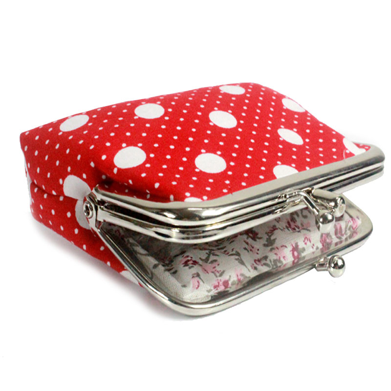 Fashion Women Coin Purse Cute Flower Printing Ladies Small Purse Coin Two Metal Button Pocket Coin P