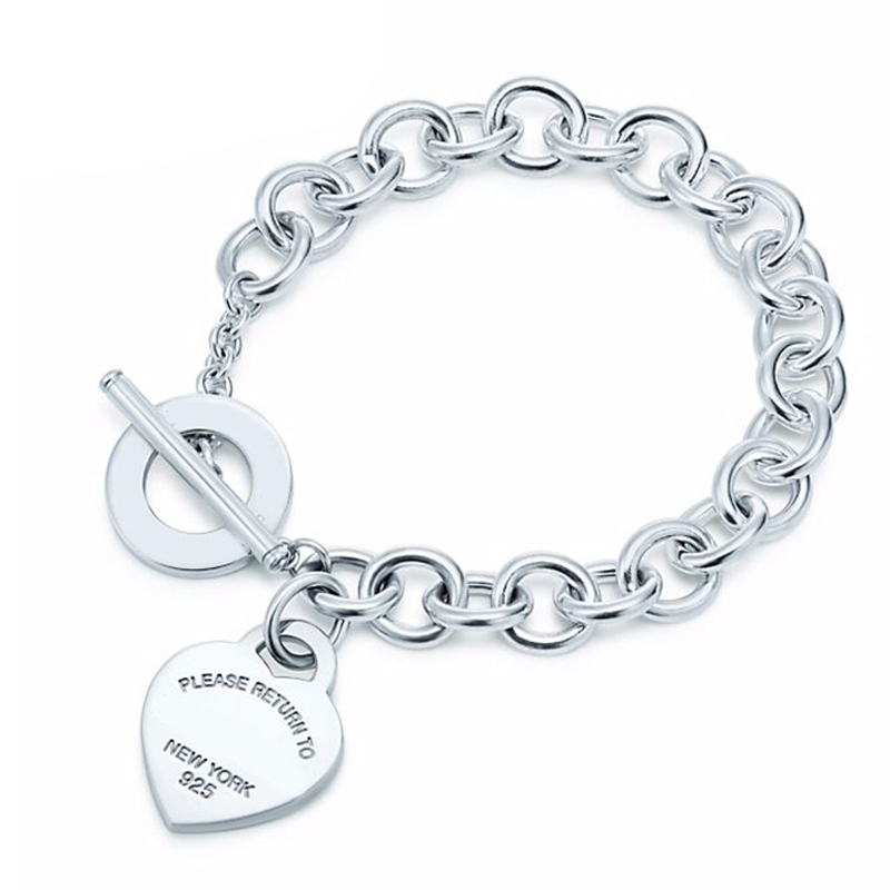 CHAMSS 100% 925 Silver Heart Tag Bracelet Buckle Tiff New Bracelet To The Woman tiff 100